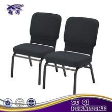 High quality hotel metal frame chair connectable Interlocking stackable used church chairs sale