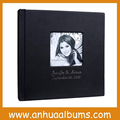 Cameo leather with indentation/ emboss /gold/silver name on cover wedding photo album For Professional Photographer