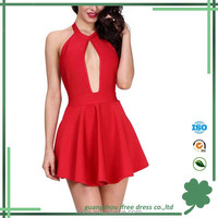 2017 Fashion Design Hollow Out Sexy A Line Backless Women Halter Bandage Floral Dress