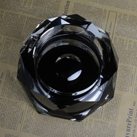 New Design Black Octagonal Crystal Glass Cigar Ashtray for gifts