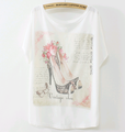 Alibaba latest short sleeve latest lovely design fashion print summer lady flower new t-shirt