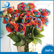 Beautiful Silk Artificial Rainbow color Rose Flowers