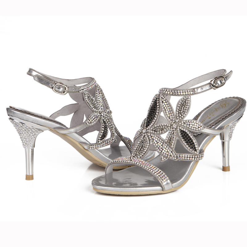 2018 New Rhinestone Summer Sandals Stiletto Heel Beautiful Women Dress  Shoes Anniversary Party Prom Heels Gold Color 8cm Heel 7608b9973772