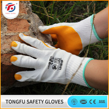 2016 new style palm rubber coated construction working cotton gloves