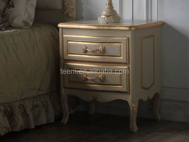 2014 Divany european classic luxury bedroom furniture royal furniture antique gold bedroom set bed night stand BA-1501