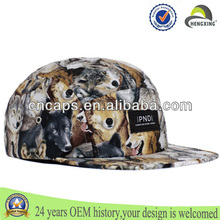 custom animal wolf printed 5 panel camp cap/hat with wolf pattern 5 panel hat