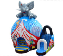 Hot inflatable elephant bouncer house with slide for kids