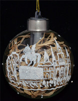 New design hanging christmas ornament and decoration, clear glass christmas printed ball with castle, horse and LED light