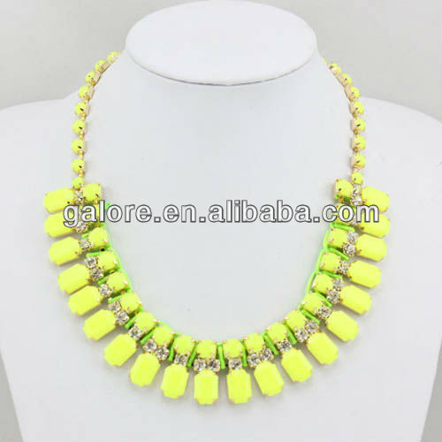 wholesale style rhinestone neon yellow necklace