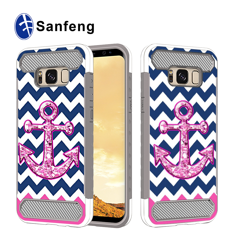 2 in 1 anti fingerprint spray tpu phone case for samsung galaxy s8, flip cover for s8 case