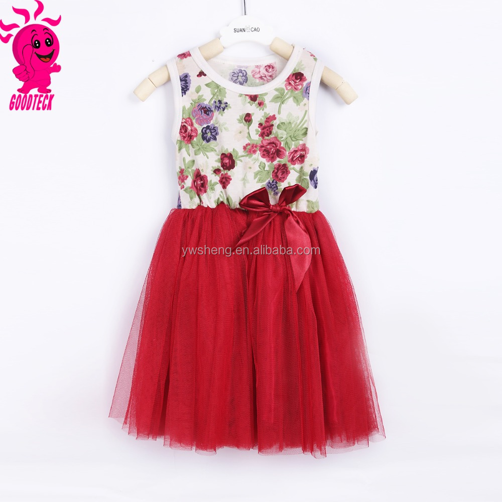 2015-2016 children dress designs for 2-8 year old girl dress with bow design fancy dresses for baby girl