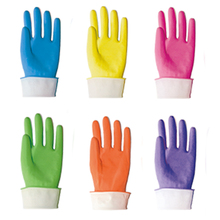 Colored Cleaning Dipped Flocklined Rubber Latex Household Gloves