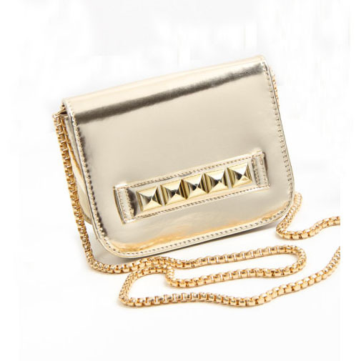 New Stylish Bolsa Feminina Mini Flap Metallic Gold Studded Detail Clutch Women Crossbody Bag With Chain Sacoche Femme G3940