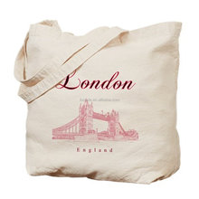 Heavy weight natural canvas cloth london souvenir bag