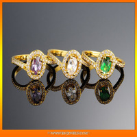 Elegant gold plated wedding gents inlaid diamond rings design