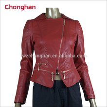 Chonghan China Supplier Customized Spring Red Motorcycle Pu Leather Woman Jacket