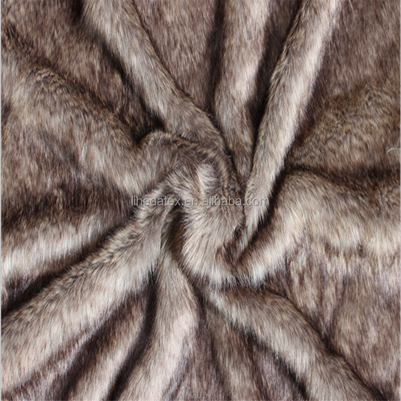 High quality brown color tip dyed fake wolf(dog) fur