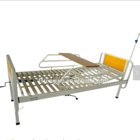 Cheaper iron manual hospital bed with side rails and dinning table