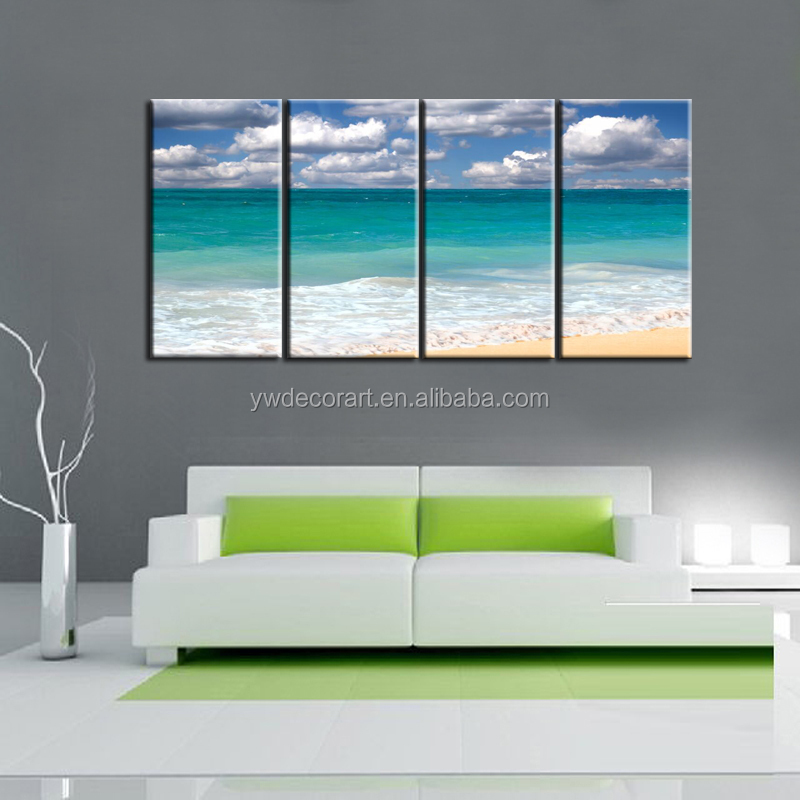 Free sample beach sea cloud canvas painting Digital Prints Seascape painting Living room painting 4 pieces canvas prints