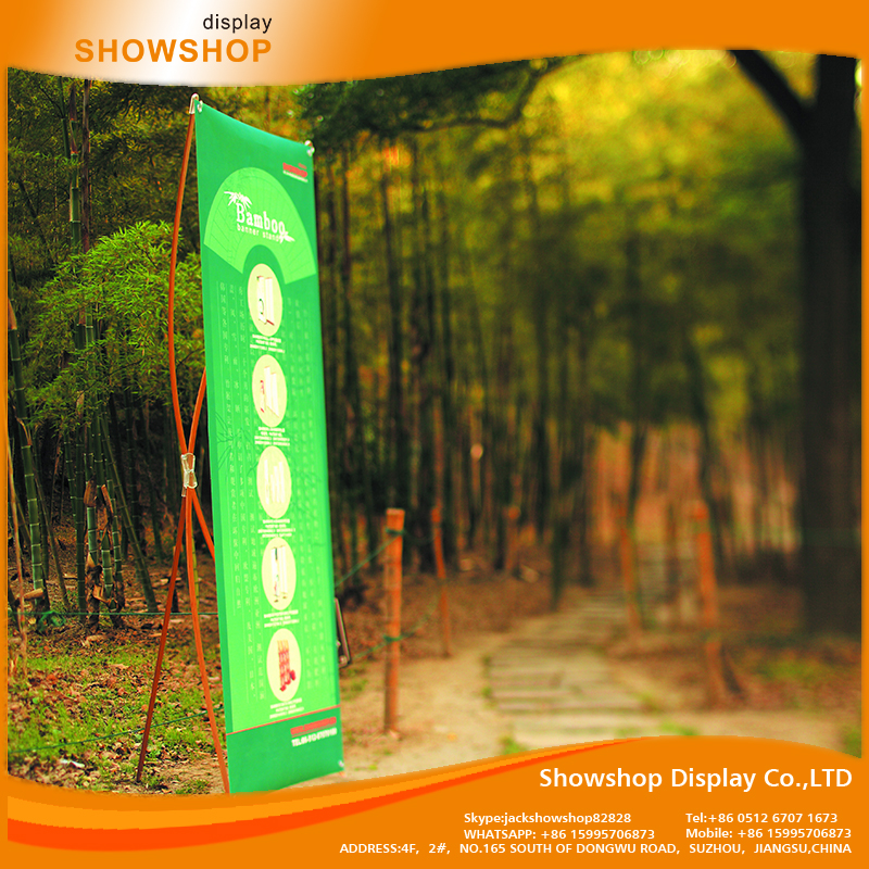 China manufacturer Custom Printed bamboo display stand x big banner printing