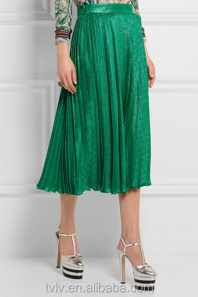 Elegant Shimmering Ladies Clothing Pleated Silk-blend Jacquard Woven Midi Skirt For Women