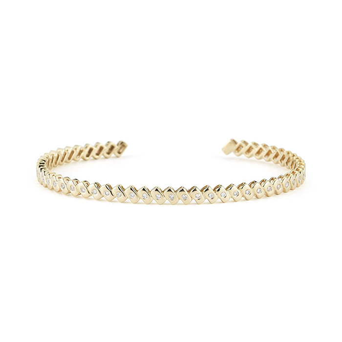 Good luck diamond bangle pure gold plated brass jewelry bangle