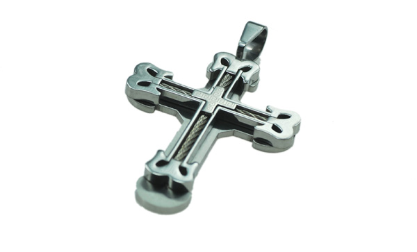 stainless steel big cross pendant with inlay wire