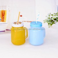 Color Printing Glass mason jar with straw