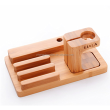 Multiple finishes creative hobbie device charging station wooden phone support stand for notebook computer
