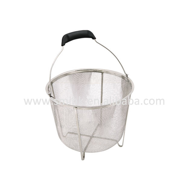 Stock Pot Basket with Movable Handle & Sheet Wire Base, Stainless Steel Housewware, Mesh Colander