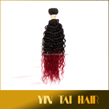 Yintai Hair Remy Hair Extensions Ombre Hair Weaving Deep Curly 1B/BUG