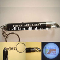 Bottle opener led keychain torch,custom design logo projector flashlight keychain