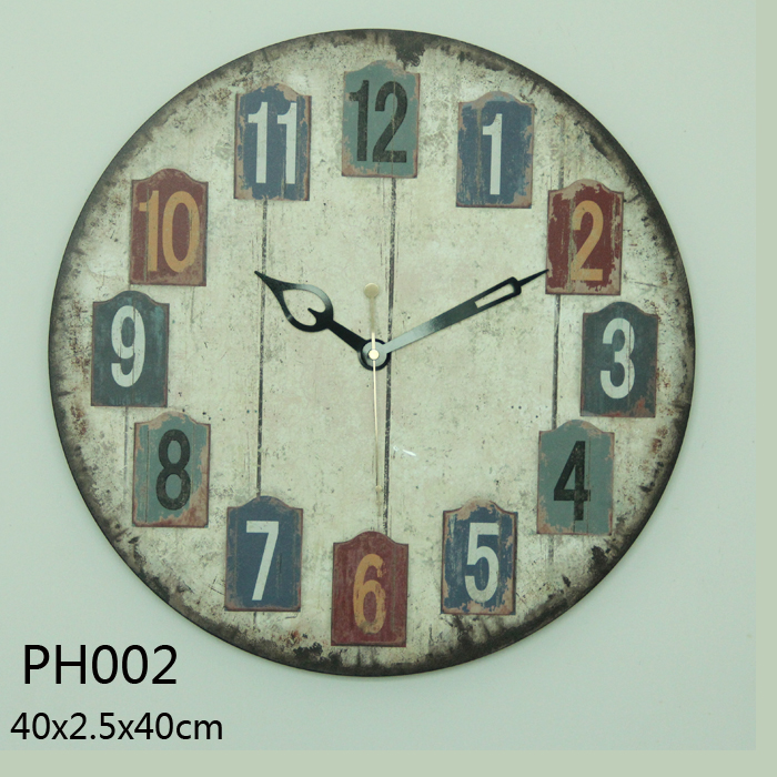 Customizable shabby chic wooden wall clock home decor vintage wholesale