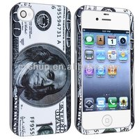 Snap-on Rubber Coated Case compatible for Apple iPhone 4/4S Hundred US Dollar Money