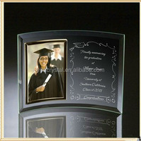 Personalized Curved Crystal Glass Picture Frame/Photo Frame For Graduation Souvenir Gifts