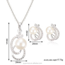 Maverick Wholesale Free Sample Pearl Diamond Silver Circle Jewelry Sets