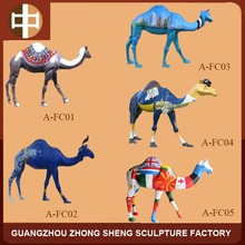 FRP Hand-painted Camel sculpture for park decoration