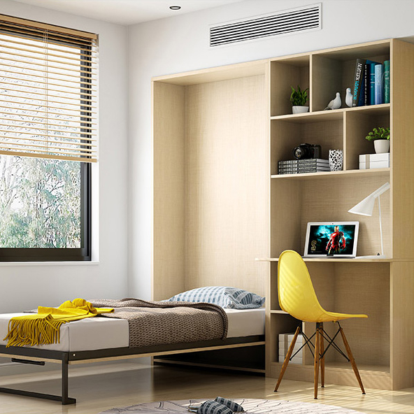 New Design Customized Small Apartment Wall <strong>Bed</strong> With Storage Cabinet Space Saving Multi-functional Invisible <strong>Bed</strong> Folding <strong>Bed</strong>
