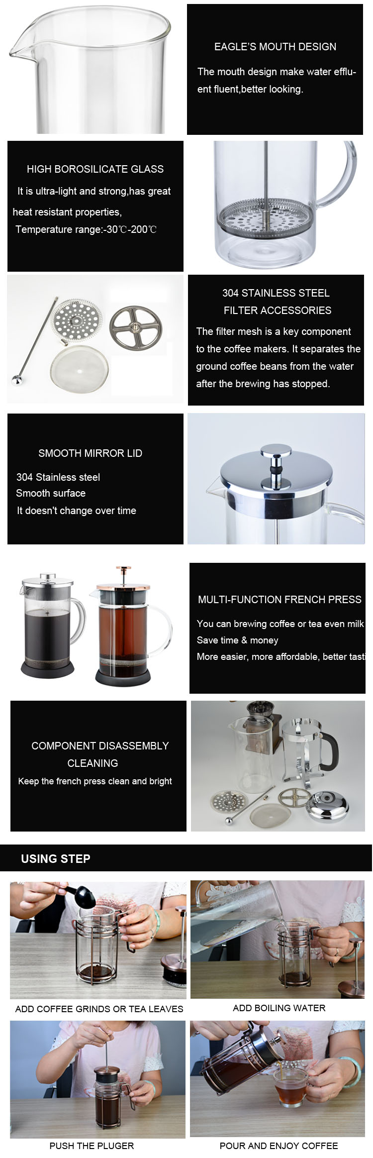 2018 Amazon Hot Sale 1000ML Borosilicate Glass French Press With SS304 Filter