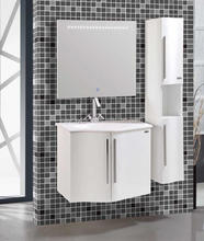 Simple pvc wall mounted lowes bathroom cabinets with side cabinet
