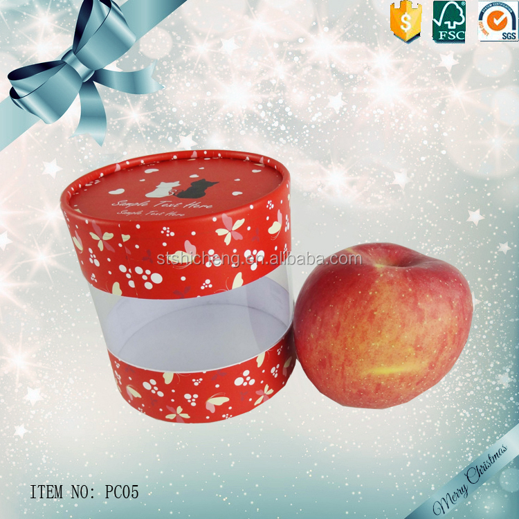 Clear pretty apple gift box tin with PVC window