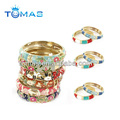 Latest fashion colorful flowers metal bracelet
