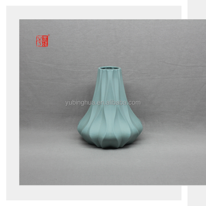 Ceramic Bud Vase Simple Modern Style Peacock Green with Matt Finish