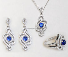 Trendy New Design Silver Plated Beautiful Crystal Necklace Earring Ring Fashion Jewelry Set Wholesale