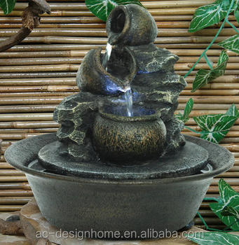 Polyresin Tabletop Fountain with LED Light, Water Fountain, Fountain Outdoor