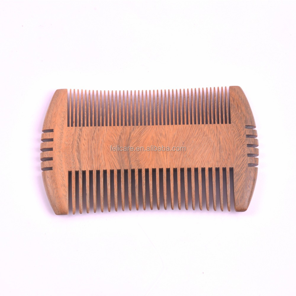 Customized logo Home Green sandalwood wooden wood beard comb