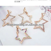 Korean Big Hoop Five-star Shape With Colorful Diamond Setting Gold Ear Stud zywg_020122901