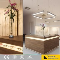 Modern wood display optical shop counter design for eyewear store interior and fixture