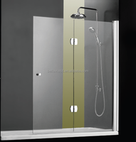 curved tempered glass bathtub hinge shower screen 6582BN