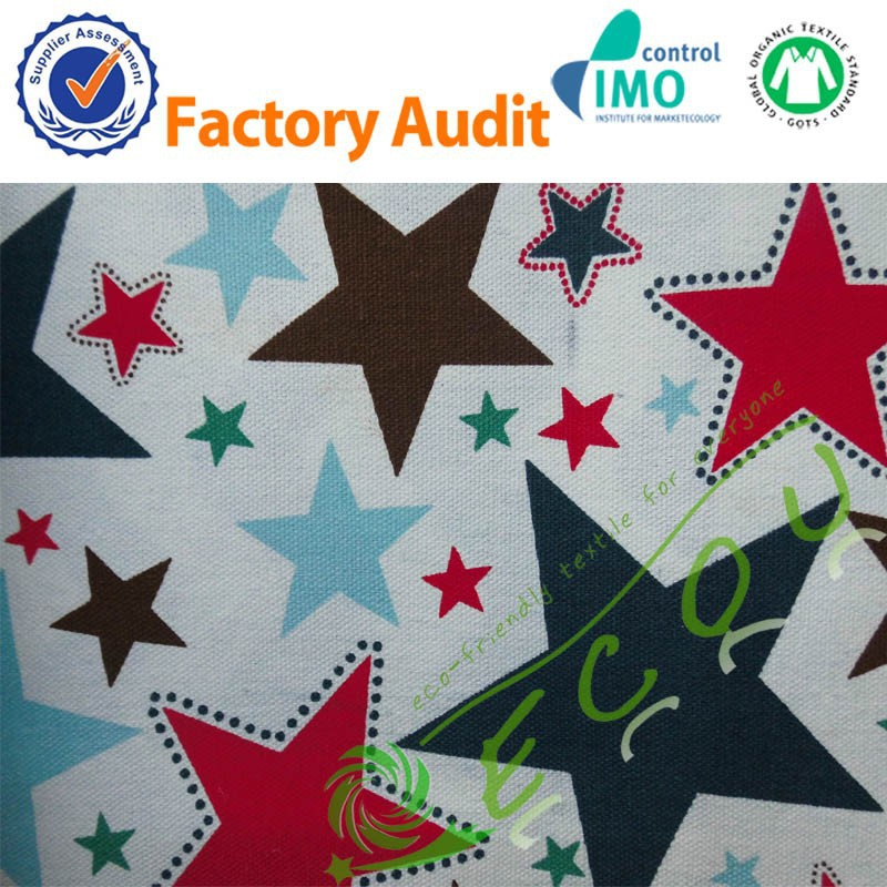 Stock wholesale cotton printing canvas star pattern